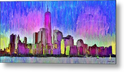 New York Skyline 4 - Da Metal Print by Leonardo Digenio
