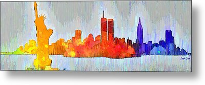 New York Skyline Old Shapes 3 - Da Metal Print by Leonardo Digenio
