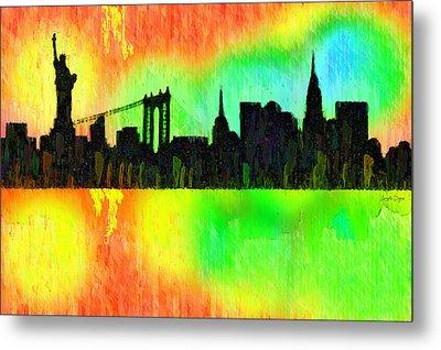 New York Skyline Silhouette Colorful - Pa Metal Print by Leonardo Digenio