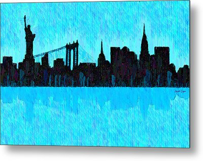 New York Skyline Silhouette Cyan - Pa Metal Print by Leonardo Digenio