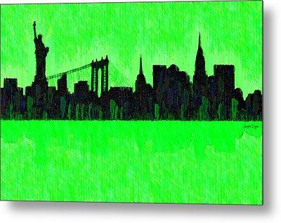 New York Skyline Silhouette Green - Da Metal Print