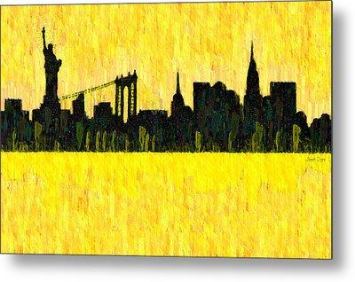 New York Skyline Silhouette Orange - Da Metal Print by Leonardo Digenio