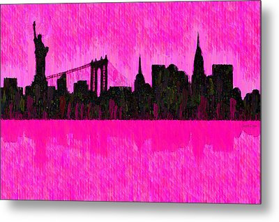 New York Skyline Silhouette Pink - Da Metal Print