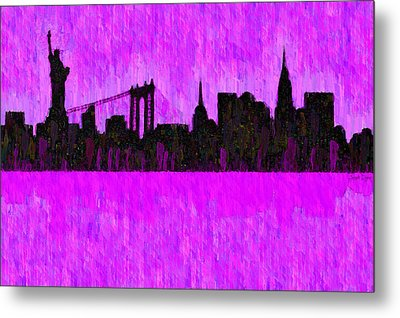 New York Skyline Silhouette Purple - Pa Metal Print
