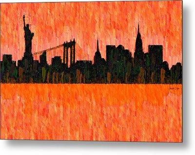 New York Skyline Silhouette Red - Pa Metal Print by Leonardo Digenio