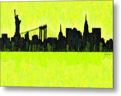 New York Skyline Silhouette Yellow-green - Pa Metal Print by Leonardo Digenio