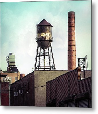 New York Water Towers 19 - Urban Industrial Art Photography Metal Print by Gary Heller