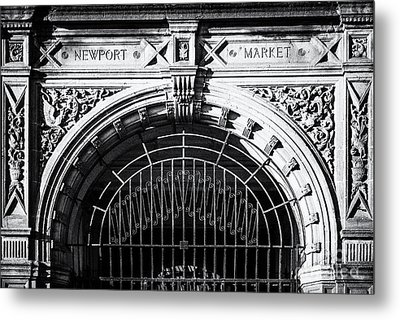 Newport Market Entrance Mono Metal Print by Steve Purnell
