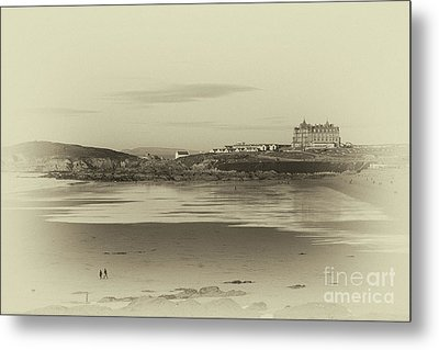 Metal Print featuring the photograph Newquay With Old Watercolor Effect  by Nicholas Burningham
