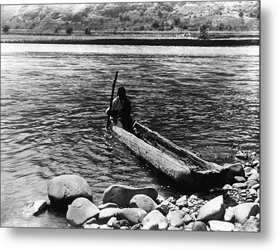 Nez Percé Canoe. Nez Percé Man Metal Print by Everett
