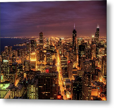 Night Cityscape Of Chicago Metal Print by Jacob D. Moore