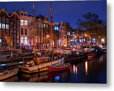 Night Lights On The Amsterdam Canals 7. Holland Metal Print by Jenny Rainbow
