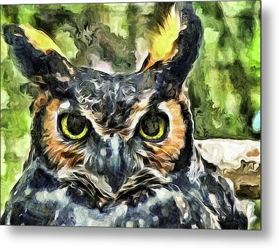 Metal Print featuring the mixed media Night Owl by Trish Tritz