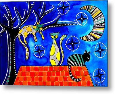 Metal Print featuring the painting Night Shift - Cat Art By Dora Hathazi Mendes by Dora Hathazi Mendes
