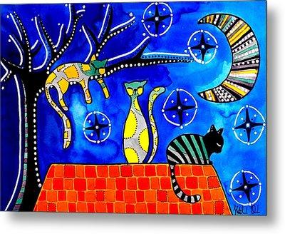 Night Shift - Cat Art By Dora Hathazi Mendes Metal Print by Dora Hathazi Mendes