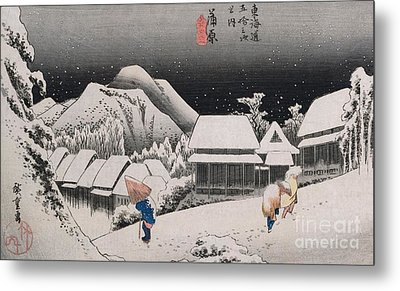 Night Snow Metal Print by Hiroshige