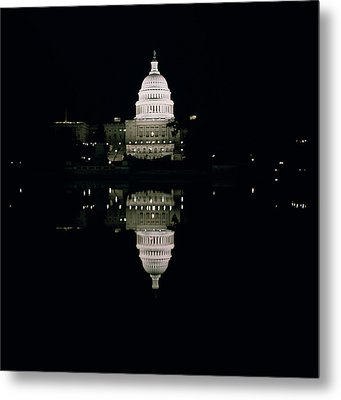 Night View Of The Capitol Metal Print by American School