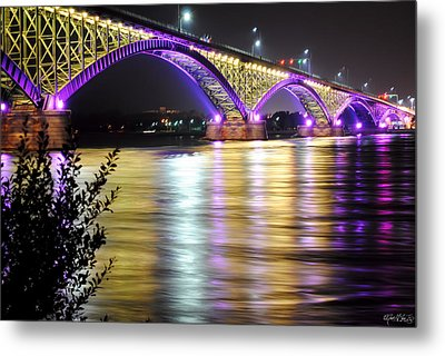 Night Walk On The Break Wall Metal Print by Michael Frank Jr