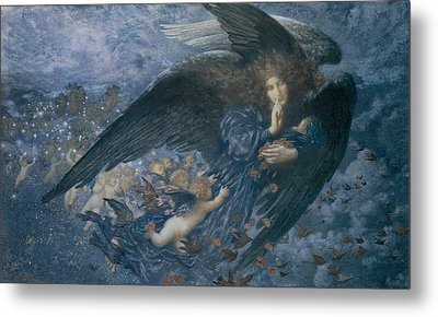 Night With Her Train Of Stars Metal Print by Edward Robert Hughes