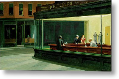 Metal Print featuring the painting Nighthawks by Artist A