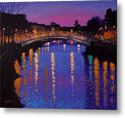 Nighttown Ha Penny Bridge Dublin Metal Print by John  Nolan