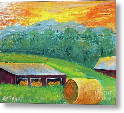 Metal Print featuring the painting Nixon' Colorful Farm View by Lee Nixon