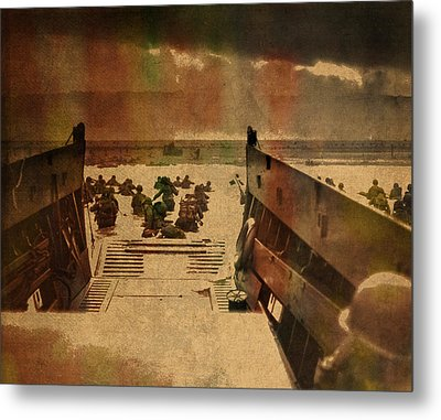 Normandy Beach On Dday World War Two Watercolor Tinted Historical Photograph On Worn Canvas Metal Print