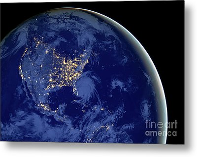 North America From Space Metal Print by Delphimages Photo Creations
