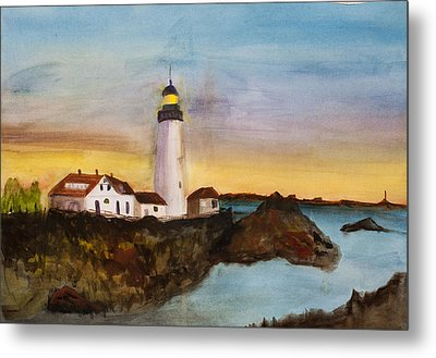 Metal Print featuring the painting North Truro Light House Cape Cod by Donna Walsh