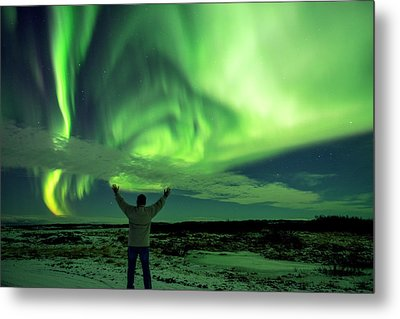Northern Light In Western Iceland Metal Print by Dubi Roman