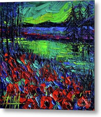 Northern Lights Embracing Poppies Metal Print by Mona Edulesco