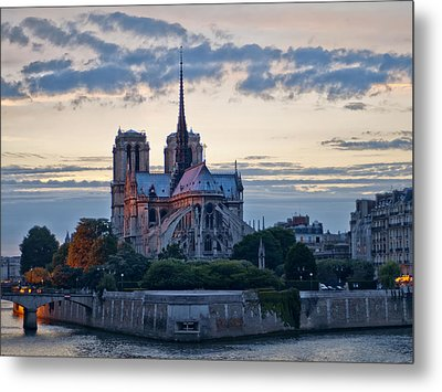 Notre Dame At Sunset Metal Print