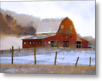 November Barn Metal Print by Ron Jones