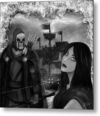 Now Or Never - Black And White Fantasy Art Metal Print by Raphael Lopez