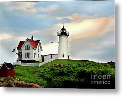 Nubble Lighthouse Metal Print by Adrian LaRoque