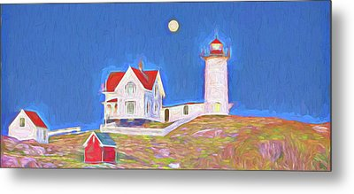 Nubble Lighthouse With Moon Metal Print