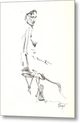 Metal Print featuring the drawing Nude 8 by R  Allen Swezey