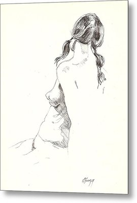 Metal Print featuring the drawing Nude 9 by R  Allen Swezey