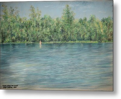 Nude Across The River Metal Print