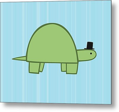 Nursery Art Boy Turtle Metal Print by Christy Beckwith
