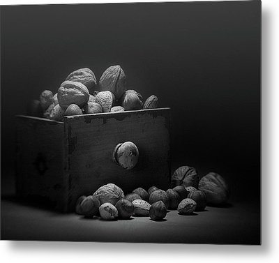 Nuts In Black And White Metal Print by Tom Mc Nemar