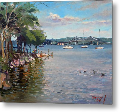 Nyack Park By Hudson River Metal Print by Ylli Haruni