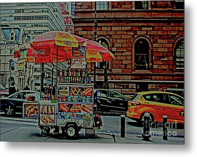New York City Food Cart Metal Print