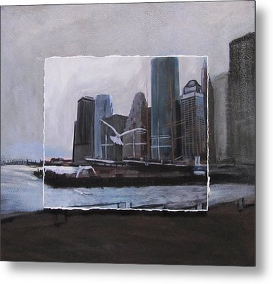 Nyc Pier 11 Layered Metal Print by Anita Burgermeister
