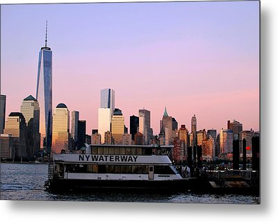 Nyc Skyline With Boat At Pier Metal Print