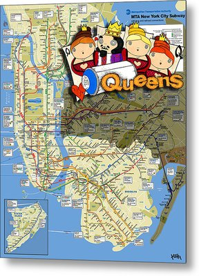 Nyc Subway Map Queens Metal Print by Turtle Caps