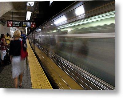 Nyc Subway Metal Print by Sebastian Musial