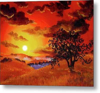 Oak Tree In Red Sunset Metal Print by Laura Iverson