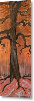 Oak Tree In The Fall Metal Print by Anna Folkartanna Maciejewska-Dyba