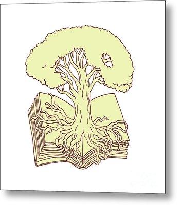 Oak Tree Rooted On Book Drawing Metal Print
